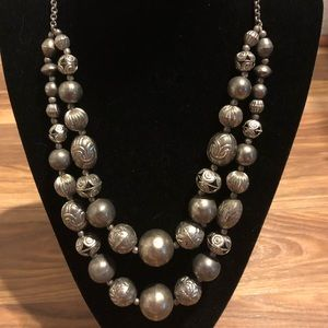 Silver tone double stranded necklace